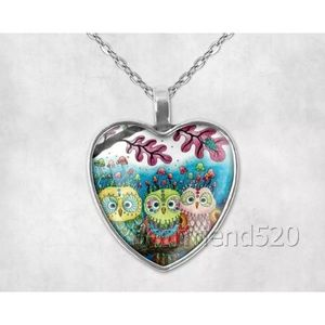 Owl Sister Glass Heart Pendant Necklace